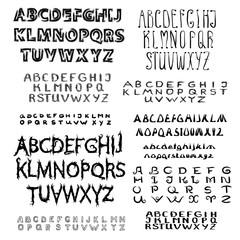 Set of calligraphic script font.