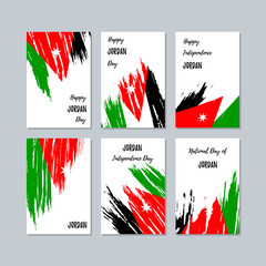 Jordan Patriotic Cards for National Day. Expressive Brush Stroke in National Flag Colors on white card background. Jordan Patriotic Vector Greeting Card.