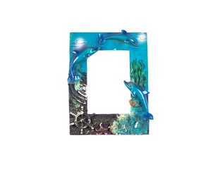 Marine photo frame with dolphins