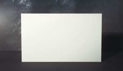 Empty white billboard in room
