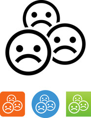 Sad Faces Icon - Illustration