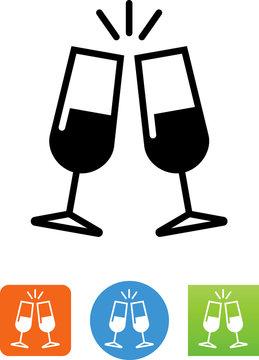 Sparkling Champagne Glasses Icon - Illustration