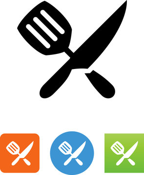 Spatula And Knife Icon - Illustration