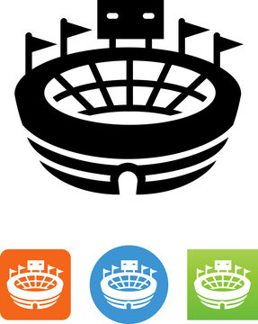 Stadium With Scoreboard Icon - Illustration