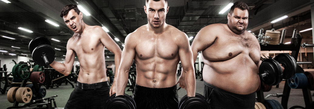 Fat, fit and athletic men. Ectomorph, mesomorph and endomorph. Sport concept. Before and after result. Group of three young sports men - fitness models holds the dumbbell in gym.