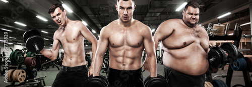 Fat, fit and athletic men  Ectomorph, mesomorph and