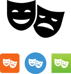 Theatre Masks Icon - Illustration