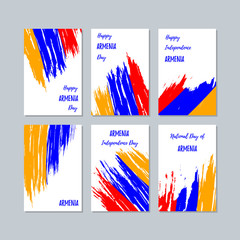 Armenia Patriotic Cards for National Day. Expressive Brush Stroke in National Flag Colors on white card background. Armenia Patriotic Vector Greeting Card.