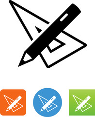 Vector Pencil And Triangle Tool Icon - Illustration