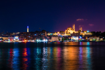 istanbul mosque in the night turkey