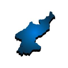 3D Map North Korea. Vector Illustration