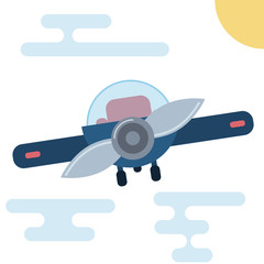 Modern flat cartoon illustration of front side of airplane.