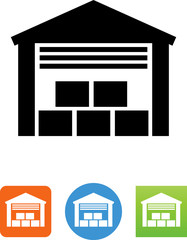Warehouse With Boxes Icon - Illustration