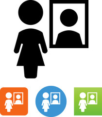 Woman In Mirror Icon - Illustration