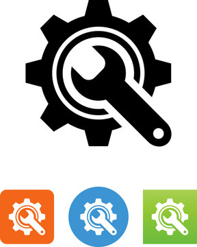 Wrench And Gear Icon - Illustration