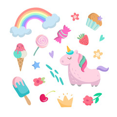 Cute collection of fun cartoon icons. Unicorn, hearts, rainbow, sweets, ice cream, flowers and other girls elements. Vector illustration isolated on white background