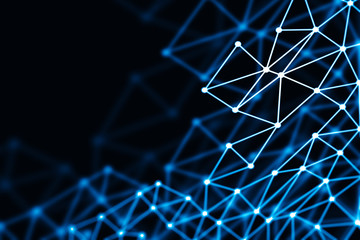 Blue glowing 3D low poly wireframe mesh - network or cyber internet concept