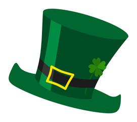 Green irish St. Patrick's day leprechaun hat illustration with cloverleaf isolated over white