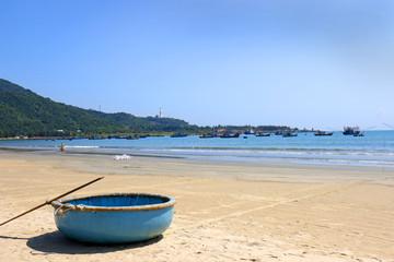 Vietnamese Round Bamboo boat. Danang, Vietnam. China Beach.