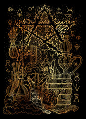 Mystic illustration with alchemical symbols, skull, fire pentagram and laboratory equipment on black background
