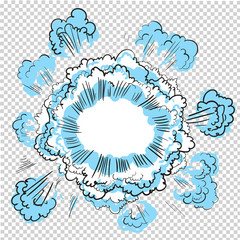 Transparent Background with Boom comic book explosion vector design