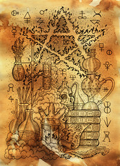 Mystic illustration with alchemical symbols, skull, fire pentagram and laboratory equipment on old paper background