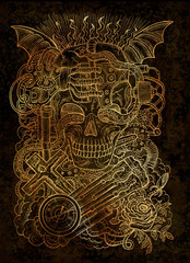 Mystic illustration with scary skull, steampunk and gothic symbols as rose, demon wings, cross, cogs and wheels on texture background