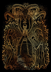 Mystic illustration with human skeleton, monks and spiritual symbols on black background. Occult and esoteric drawing