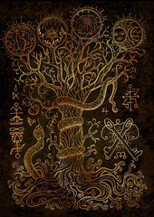 Mystic illustration with spiritual and christian religious symbols as snake, tree of knowledge and forbidden fruit on texture background