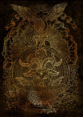 Mystic illustration with spiritual and christian religious symbols as Devil, Eve and Adam, hell and paradise on texture background