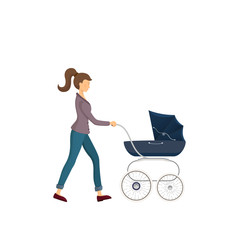 Young mother walking with baby carriage. the cute icon of baby carriage. The pram for walking with baby on the open air. Little kid on a walk with mother