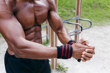 Crop man preparing to workout