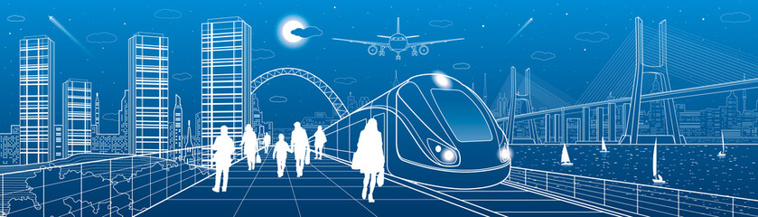 Infrastructure and transport panorama. Train move on railway. People at station. Airplane fly. Big bridge. Modern night city, towers and skyscrapers. Yachts on water. White lines. Vector design art