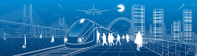 City and transport panorama. Passengers get on train, people at station. Airplane fly. Big bridge. Modern town on background, towers and skyscrapers. Yachts on water. White lines. Vector design art