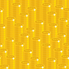 Piles gold dollars style seamless pattern. Background of piles gold dollars as a pattern for designers and illustrators. Cover of gold pieces in the form of vector illustration