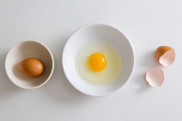 Fresh egg yolk in a bowl prepare for cooking,Food ingredient