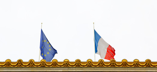 Close-up of French and EU flags.