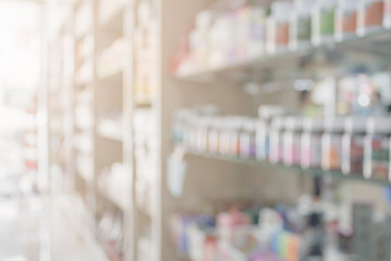 Foto op Canvas Apotheek Pharmacy blur background with medicine on shelves