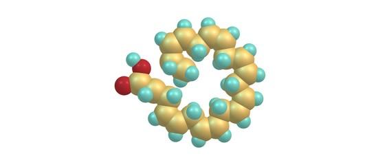 Docosahexaenoic acid molecular structure isolated on white