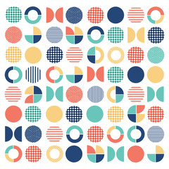 Geometric colorful mixed circle seamless pattern background