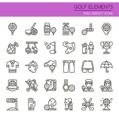 Golf Elements , Thin Line and Pixel Perfect Icons.