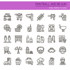 Paintball and BB Gun Equipments , Thin Line and Pixel Perfect Icons.