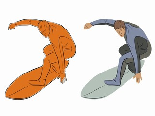 illustration of surfer player, vector draw