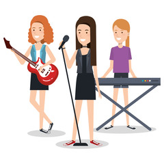 band of musicians girls playing musical instruments vector illustration
