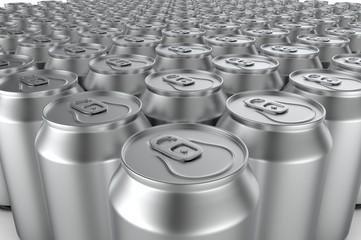Closeup aluminium soda cans. 3d illustration.