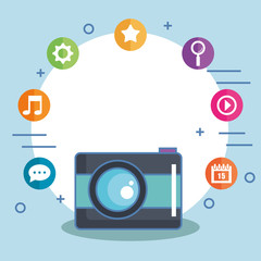 camera with social media icons isolated vector illustration