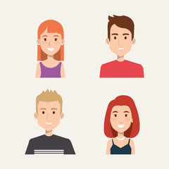 group of people students portrait young style vector illustration