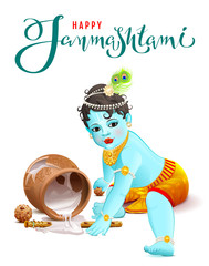 Happy Krishna Janmashtami. Blue boy god broke pot with yogurt
