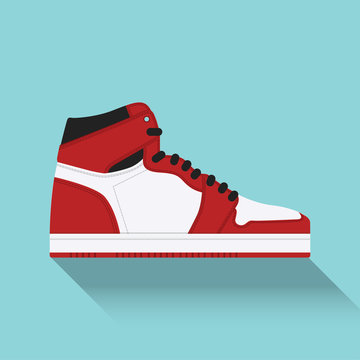 Sneaker. Trainer. Flat design. Vector illustration.