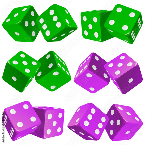 Vector Casino Dice Set Of Authentic Icons Green And Purple Pair Of